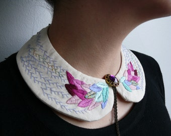 Peter pan embroidered collar. Statement necklace. Embroidery jewelry. Gift for her