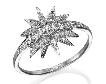 Unique Diamond Ring Star Design White Gold With Diamonds, Star Ring, Engagement Ring, Art Deco Ring, Wedding Ring, , Gift, Sale, Christmas