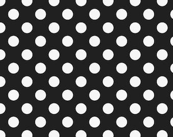 Black with White Medium Polka Dots for Riley Blake
