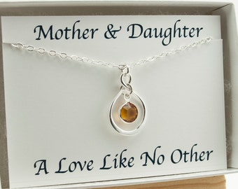 Gift for New Mother, Mothers Day Birthstone Necklace for Mom, Mothers Day from Daughter Infinity Necklace Sterling Silver November New Mom