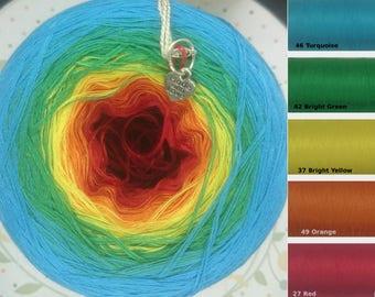 """5 Strand Handmade Gradient Yarn Cake - """"Kaleidoscope"""" -"""