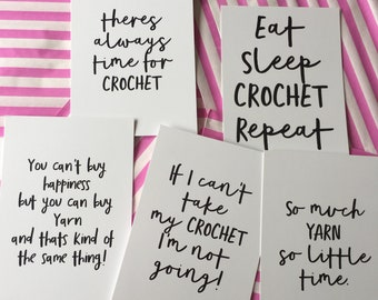 Set of 5 Yarn and Crochet Postcards