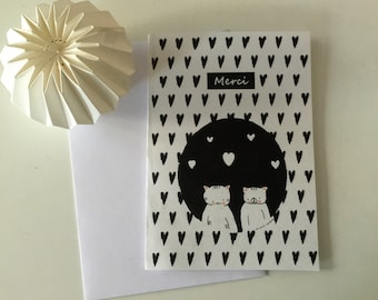 "Folded card ""Choumi et Michou : Thank you"""