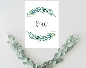 Boda rústica mesa números Ideas, decoración de la boda verde, eucalipto boda tabla números 1-20, tabla números rústico, asiento de la boda