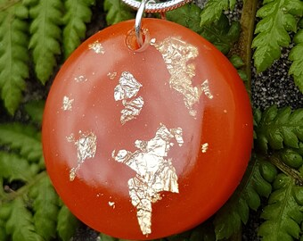 Orange Circle Pendant Necklace, Gold Leaf Resin Pendant Jewelry