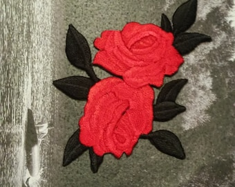Rose patch Black Red Iron on patch Embroidered patch Flower patch Rose applique Small patch Flower applique