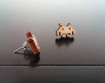 Space Invaders Engraved Wood Earrings with Nickel Free Studs!