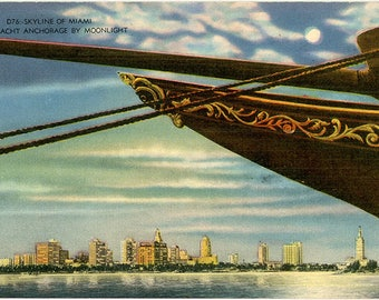Miami Florida Skyline by Moonlight from Anchored Yacht Vintage Postcard (unused)