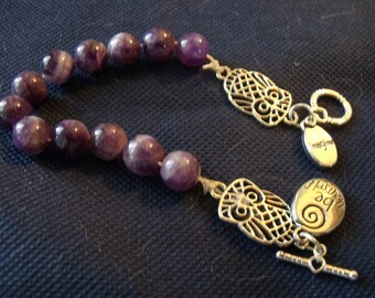 Athena amethyst owl prayer bead bracelet