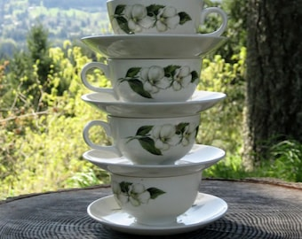 1952 - Set of 4 Homer Laughlin Rhythm Tea Cups and Saucers - White Flowers Pattern