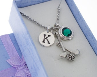 Golf Necklace in Antique Silver Pewter, personalized with silver pewter letter charm and Swarovski birthstone crystal charm.
