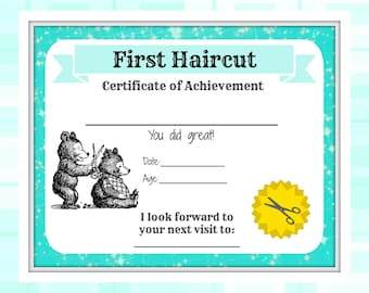Haircut etsy first haircut certificate baby first haircut photo certificate baby milestone keepsake letter yadclub Image collections
