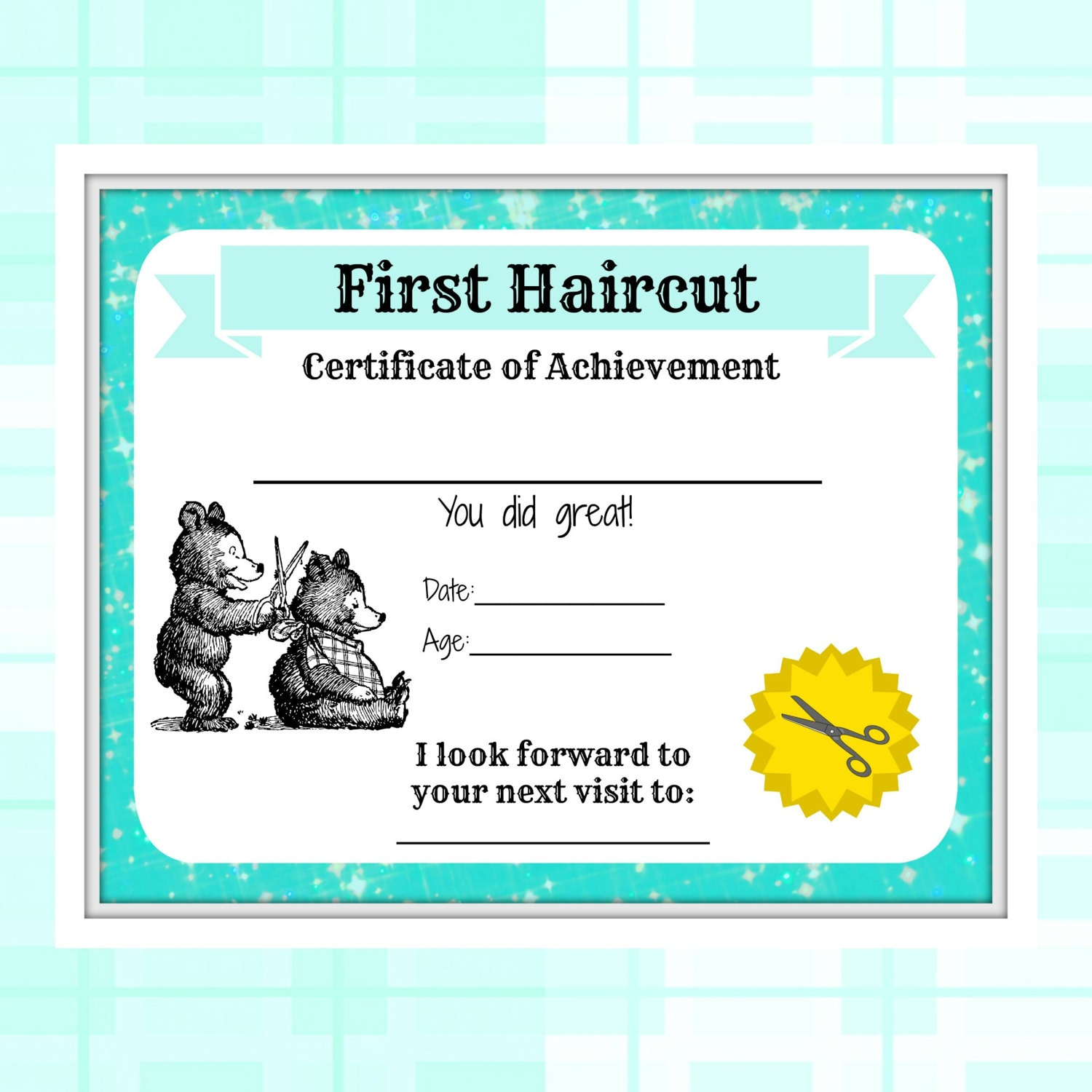 First haircut certificate baby first haircut photo zoom yelopaper Gallery