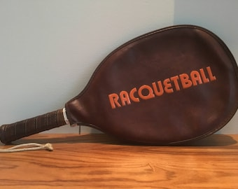 Racquetball Racket with Cover: Retro Typography!