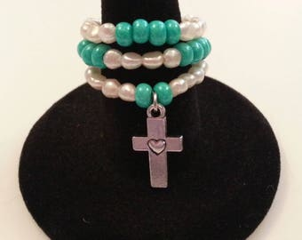 Silver Cross Charm Turquoise Beads Freshwater Pearls Stretch Stack Ring 7 - 8