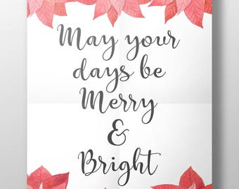 May your days be merry and bright print, merry and bright print, christmas typography, christmas print, holiday decor, christmas decoration