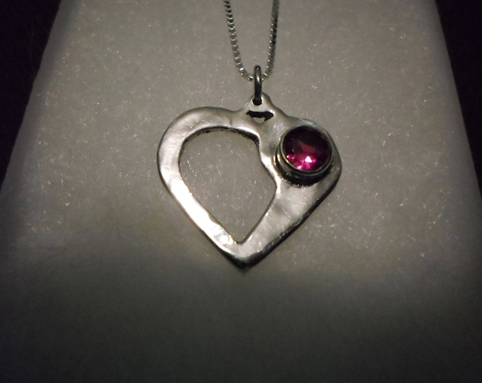heart necklace w/6mm bithstone w/sterling silver chain quarter size