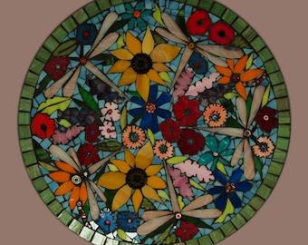 Mosaic Garden and Dragonfly Platter