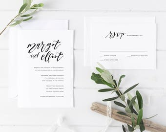 Printable Wedding Invitation Set | Simple Invitation Set | Minimalist Wedding Invitation | Wedding Invitation Suite | Cheap Invites | WI-021