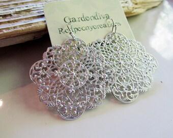 Large Silver Filigree Earrings, Medallion Earrings, Silver Metal Die Cut, Lightweight, Matte Silver, Redpeonycreations