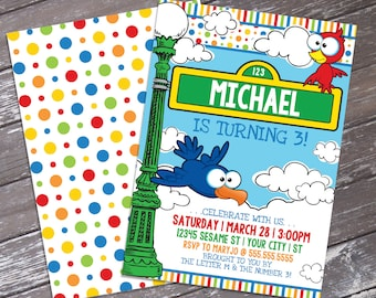 Sesame St inspired Birthday Invitation - Sesame St inspired Theme, Birthday Party | DIY Editable Text INSTANT DOWNLOAD Printable