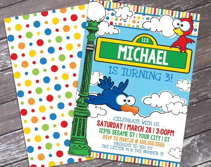 Sesame St inspired Birthday Invitation - Sesame St inspired Theme, Birthday Party | DIY Editable Text INSTANT DOWNLOAD Printable