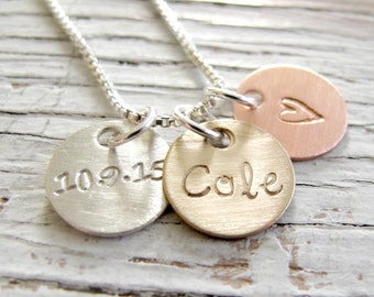 Personalized Initial Jewelry, Hand Stamped Necklace, Mixed Metals, Mother's Day Gift, Mother's Necklace, Grandma, Gift for Her