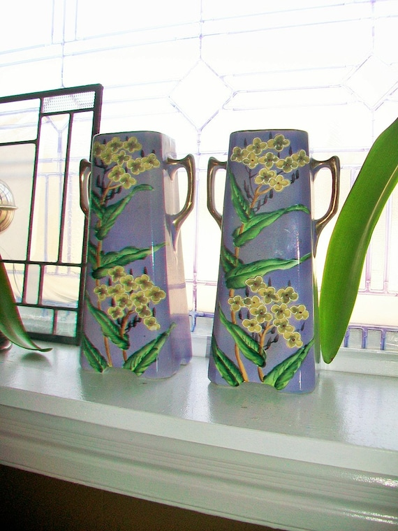 Purple Vases Relief Molded Flowers Royal Nishiki Porcelain Antique Art Deco