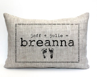 """baby gift, baby pillow, baby shower gift, child's name pillow, personalized pillow, birthday pillow, christmas gift - """"The Breanna"""""""