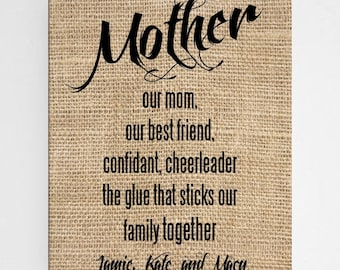 Personalized Mother Canvas - Home Decor - Wall Art - Canvas Signs - Mother's Day Gifts - Gifts for Her - Burlap Canvas - Mom Gift - CA0130