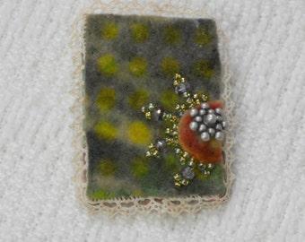E518 OOAK Handmade Felt Resist Dyed Brooch