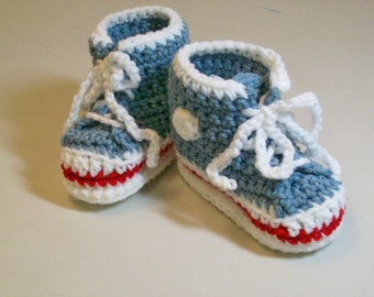 Baby Booties  Country Blue  Hi-top Sneakers Converse Style Baby Shoes Slippers