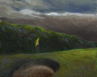 "Golf Art. Golf Gift. Golf Wall Decor. Lahinch Golf Club, Ireland - ""Up and Over"". Print of original oil painting."