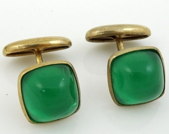 Vintage Cufflinks Green Square Cab Cabochon