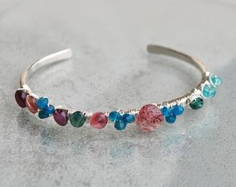 Sterling silver bracelet - stone-precious Tourmaline Apatite Quartz Strawberry-hammered jewelry bracelet Bangle is hand-birthday gift