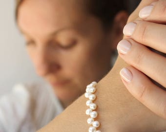 White Freshwater Pearl Bracelet for Women . White Pearl Bracelet Wedding . June Birthstone Jewelry