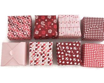Set of 8 valentine's day square box - treat boxes - pink heart box - small gift box - favor box - paper gift box
