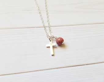 Cross Necklace Sterling Silver with Pink Rhodonite Stone, Christian Gift Handmade by Gianna's Jewelry Box