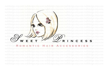OOAK Character Illustrated Sweet Princess Logo design-Will not be resold