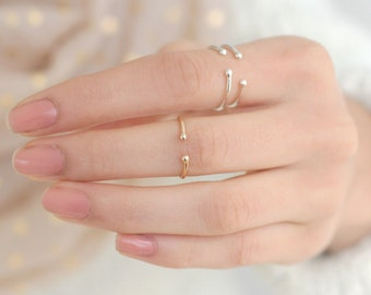 stacking ring. GOLD or sterling SILVER knuckle ring. midi ring. ONE dainty stacking ring. first knuckle ring. mid ring. cuff ring.