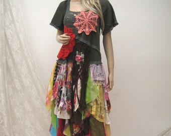 Gypsy colorful dress, cotton boho dress, upcycled dress, vintage reworked dress, bohemian dress, hippie Dress, midi dress