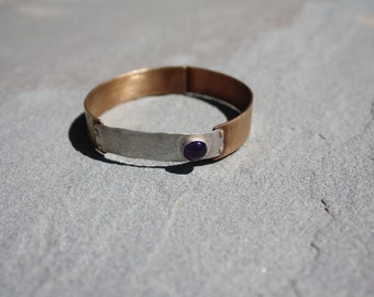 Recycled Bronze and Sterling Bangle with Amethyst Setting