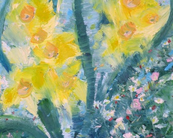 NARCISSUS AND FRIENDS - original oil painting - one of a kind!