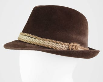 Brown Mayser Fedora hat with cord