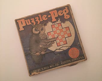 1920's PUZZLE PEG Game by Lubbers & Bell, Clinton, Iowa