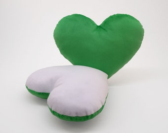 White and Green Team Spirit Hug Heart Shaped Pillow 12x14 inches
