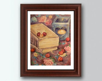 Watercolor Painting, Still life Books & cherries Painting, Kitchen Wall Decor Print, Colorful Fine Art, Gorgeous Home decor, Realistic art