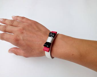 Red and black bow bracelet, leather cuff bracelet, leather bow bangle