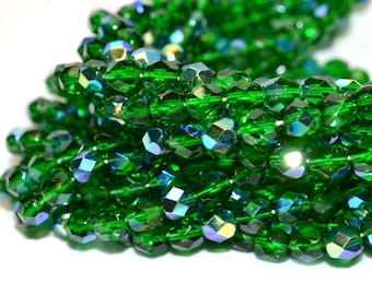 Clearance - Green AB Fire Polished Czech Glass Beads 6mm - CZ0043 50 pcs