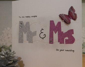 Handmade Wedding congratulations card, Mr and Mrs wedding card